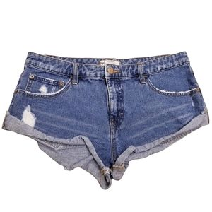 Free People High Rise Distressed Shorts